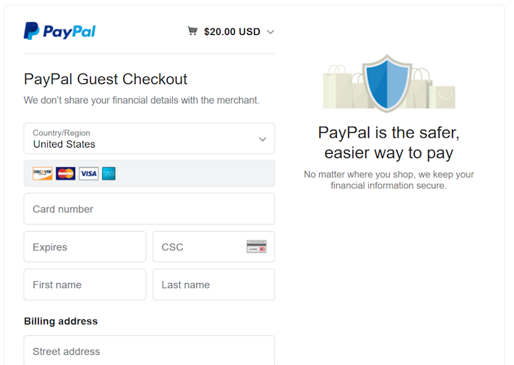 paypal guest check out